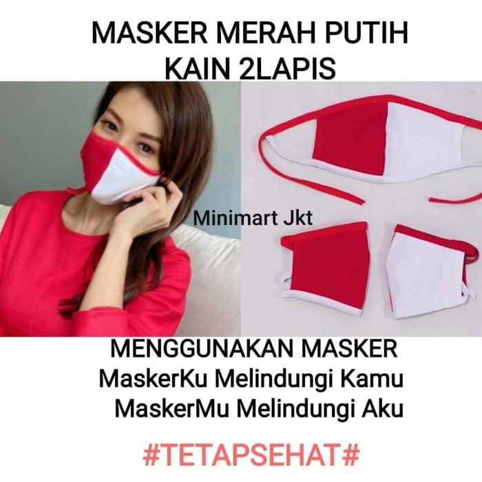 Foto Produk Masker Merah Putih Indonesia 2 lapis / Masker Hijab / Unisex dari MINIMART JKT