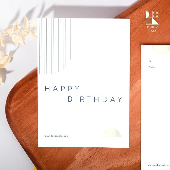Foto Produk Simple Happy Birthday Card - 148gsm / Kartu Ucapan Ulang Tahun dari Dekornata
