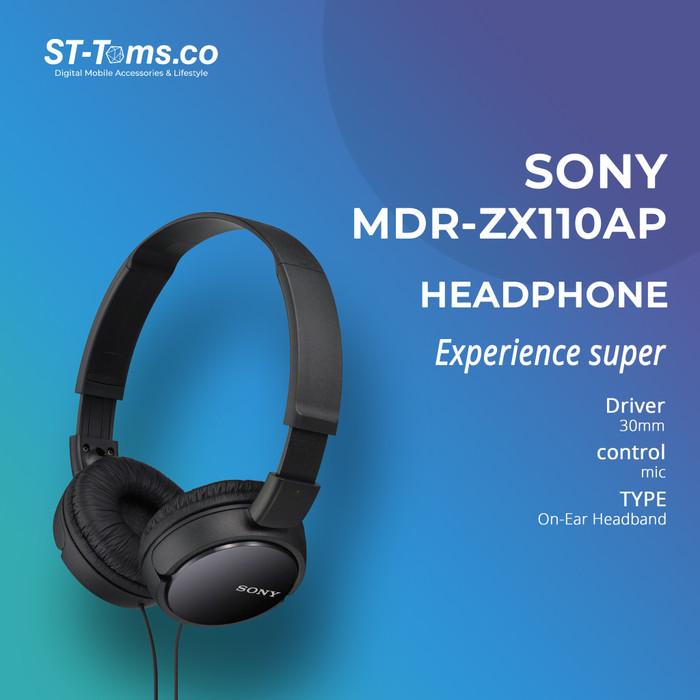 Foto Produk Sony Headphones MDR ZX110 AP - Black - Hitam dari ST-Toms.co