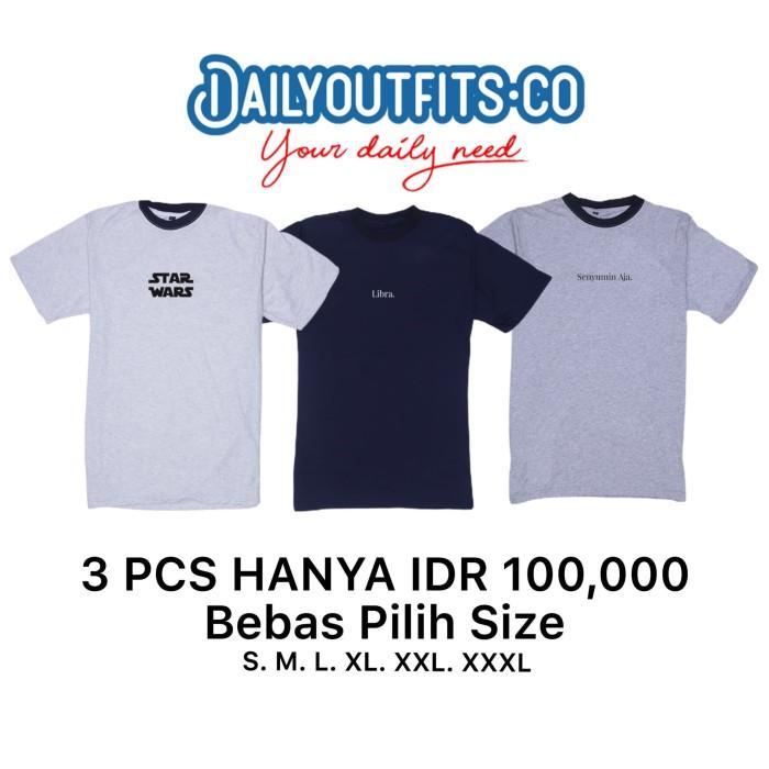 Foto Produk Dailyoutfits (Bundling 3Pcs) Kaos Katun 30S Custom Polyflex SIZE XXL - XXL dari Daily Outfits DYO