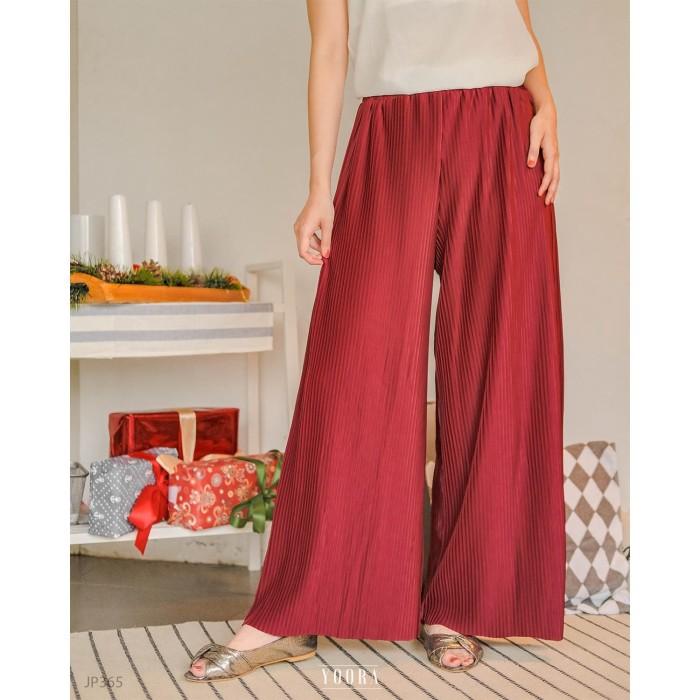 Foto Produk [Yoorafashion] Hyeon Plisket Culottes Celana Panjang Wanita JP365 - BLACK dari Yoora Fashion