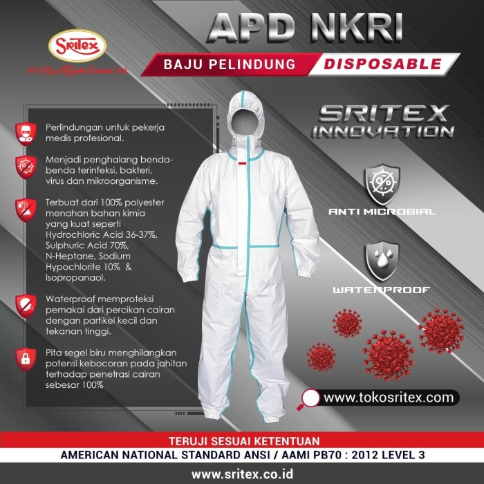 Foto Produk APD NKRI Sritex Disposable Coverall Hazmat dengan Sealant - M dari Sritex Official Store