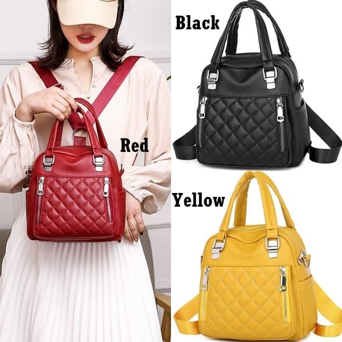 Foto Produk Backpack Multifungsi Wanita E6013 Tas Ransel Selempang Kulit Import dari Gudang Distributor Murah
