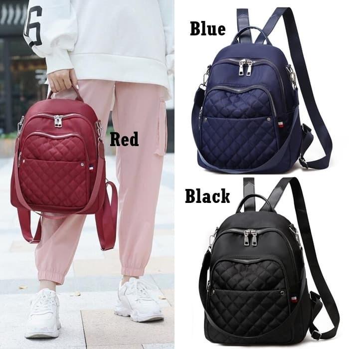 Foto Produk Backpack Nylon Wanita E6011 Tas Ransel Multifungsi Quilted Import Baru dari Gudang Distributor Murah