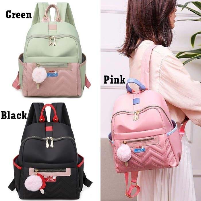 Foto Produk Tas Ransel Wanita E6012 Backpack Korea Style Rabbit Gantungan Pompom dari Gudang Distributor Murah
