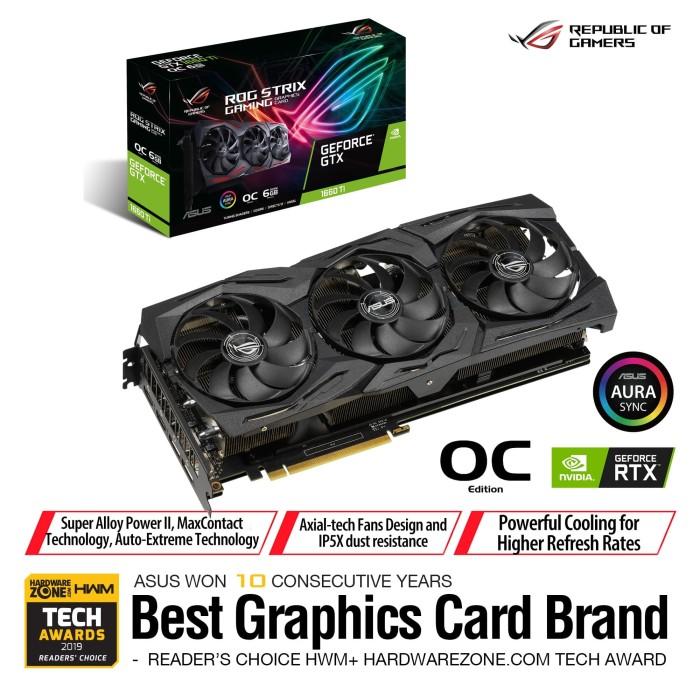 Foto Produk ASUS ROG Strix GeForce GTX 1660 Ti OC Edition 6GB GDDR6 dari Asus Component