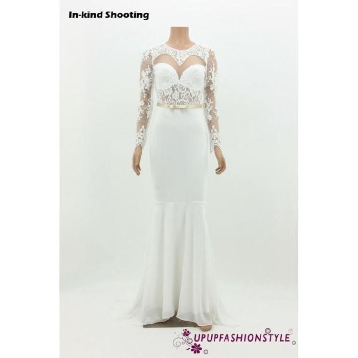 Jual Upup Women Ball Prom Gown Formal Party Long White Lace Dress Jakarta Selatan Gn Id Tokopedia