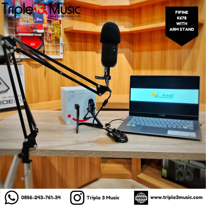 Foto Produk Fifine K678 MIC USB Paket Microphone Conference zoom podcast gamers dari triple3music