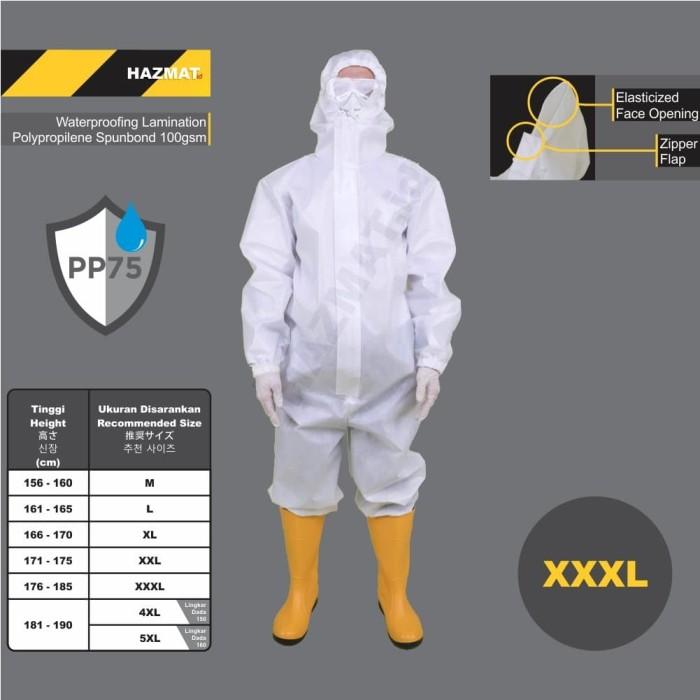 Foto Produk APD Medis Baju HAZMAT .id Suit PPE Coverall XXXL 3XL Spunbond 75gsm dari WWW.SERAGAM.ID