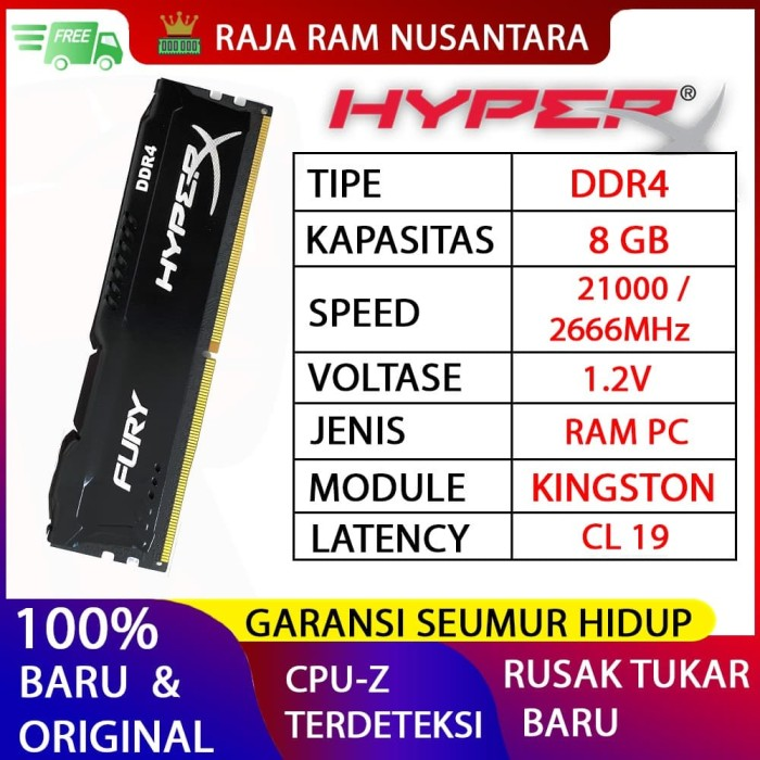 Foto Produk RAM KINGSTON HYPERX FURY DDR4 8GB 2666MHz 21300 GAMING RAM PC DDR4 8GB dari RAJA RAM NUSANTARA