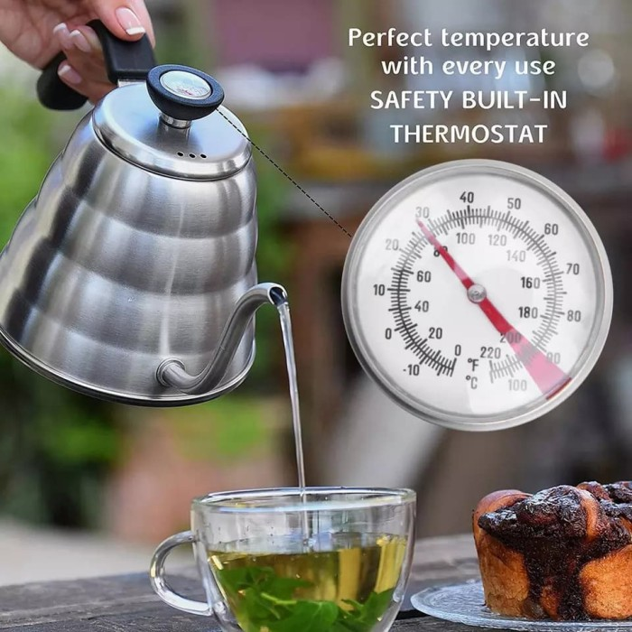 Foto Produk Coffee Maker Pot V60 Drip Kettle Teko Barista 1200ML with Thermometer dari rubic wear
