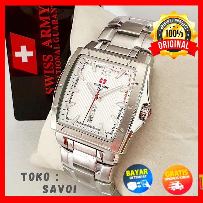 Foto Produk Swiss Army Original|Jam Kotak| Jam Tangan Pria | Analog Tanggal Hari - Putih dari Faith Shop Community