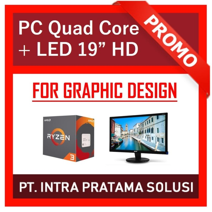 Foto Produk PC Rakitan Quad Core Lengkap (Siap Pakai, untuk Design / Office) dari PT. Intra Pratama Solusi