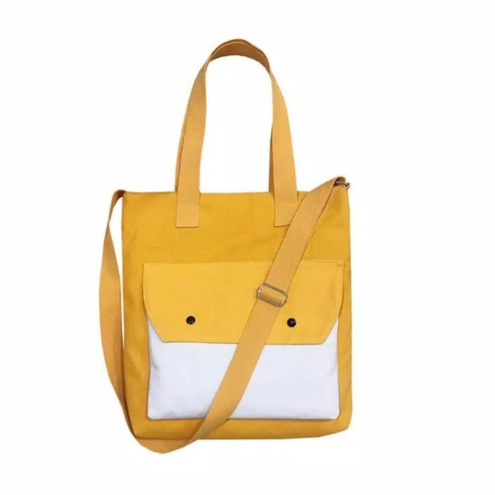 Foto Produk Tote Bag - Saku Hobo bahan tebal Premium Yellow White - Kuning dari B komputer