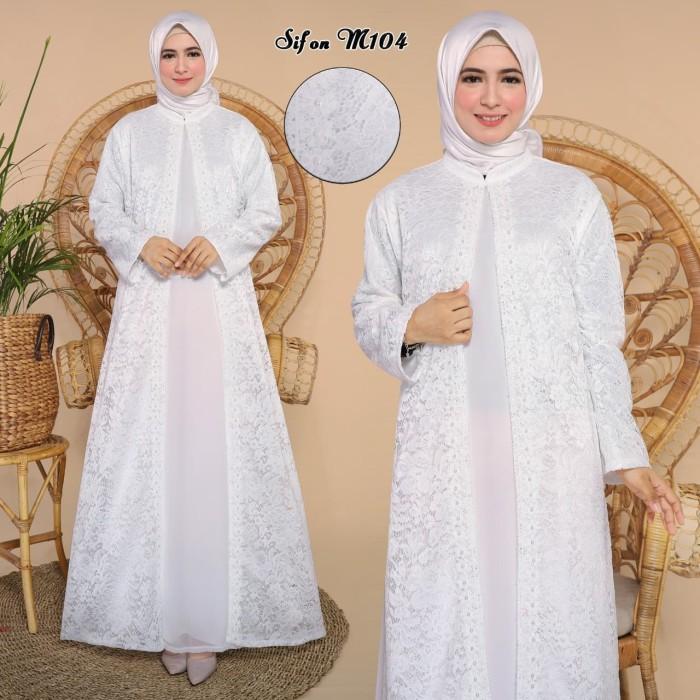 Jual Gamis Putih Sifon Kombinasi Brokat Pakaian Muslim Wanita Jakarta Barat C2t Fashion Tokopedia