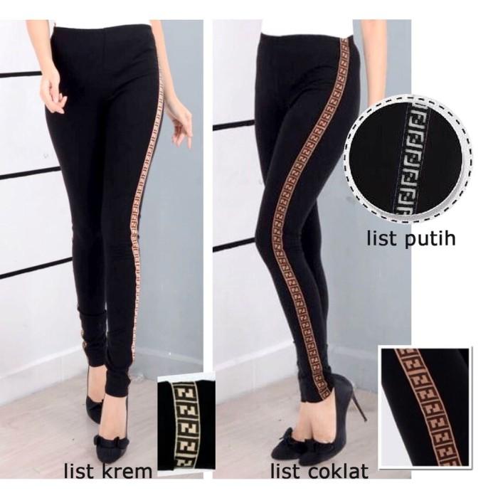 Jual Celana Legging Wanita List Ff Brown Panjang Terbaru Jakarta Barat Global Factory Tokopedia