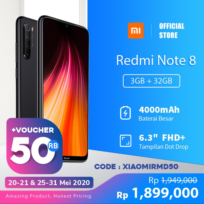Foto Produk XiaoMi Redmi Note 8 [3GB + 32GB/Garansi offical] - Space Black dari Xiaomi Official Store