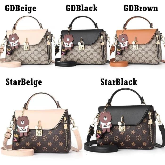Foto Produk Sling Bag GD Star G990212 Tas Selempang Wanita Gantungan Brown Import dari Gudang Distributor Murah