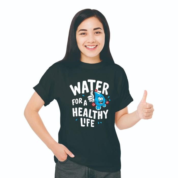 Foto Produk Baju Kaos T-Shirt Distro Fashion Wanita Black Edition Water Healthy - XS dari Air Minum Biru