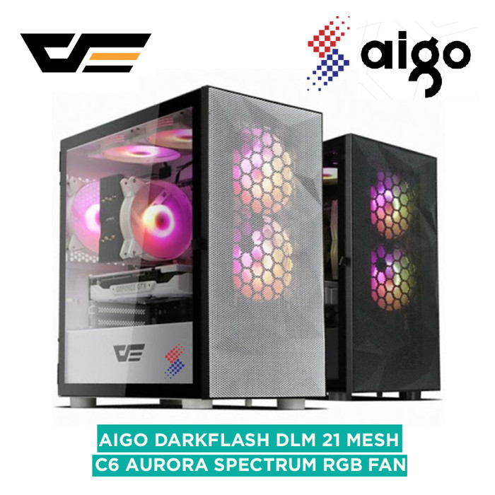 Foto Produk AIGO DLM21 MESH BLACK / WHITE DARKFLASH MATX dari silicon ONE Computer