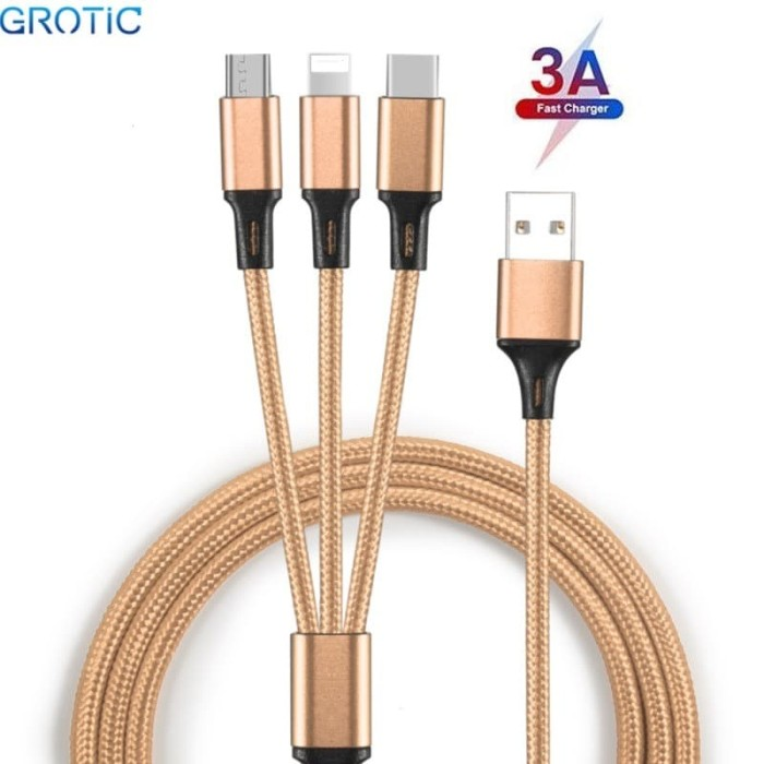 Foto Produk GROTIC Kabel Charger 3 in 1 3A Fast Charging 1.2M Nylon Braided Cable - Emas dari APRoo