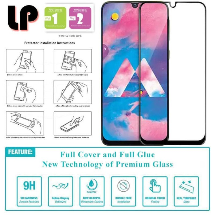 Foto Produk LP Full Glue Tempered Glass Samsung Galaxy M30 - Original Clear Kaca dari Logay Accessories