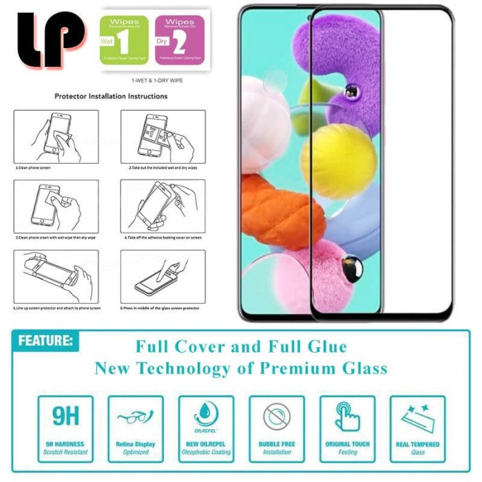 Foto Produk LP Full Glue Tempered Glass Samsung Galaxy A51 - Original Clear Kaca dari Logay Accessories
