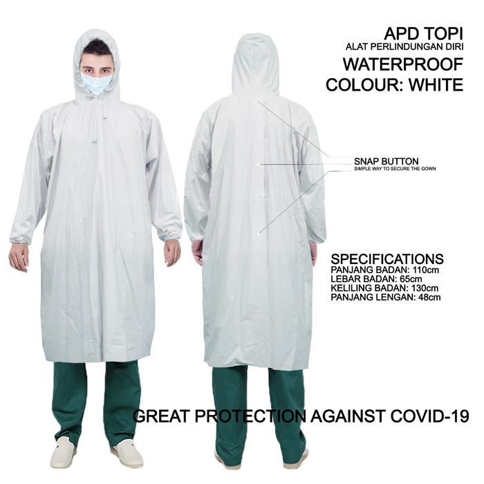 Foto Produk Baju APD Alat Pelindung Diri Waterproof 100% Poncho - Putih dari GrosirOtomotif