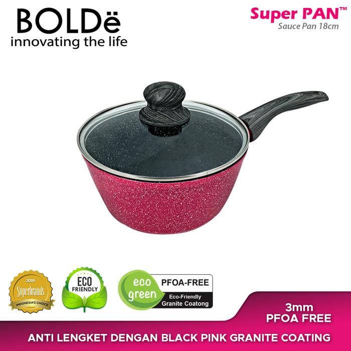 Foto Produk BOLDe Sauce Pan 18 cm Lid Glass Black Pink dari BOLDe Official Store