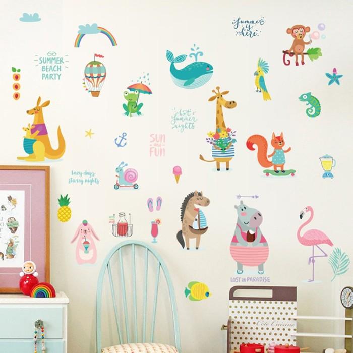 Jual Cartoon Monkey Whale Flamingo Mural Wall Stickers Baby Bedroom Decor Jakarta Barat Island Vine Tokopedia