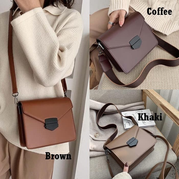 Foto Produk Strap Bag E494 Tas Selempang Kulit Gaya Casual Wanita Modis Import JKT dari Gudang Distributor Murah