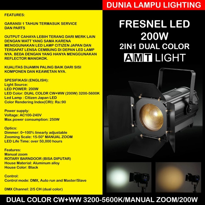 Foto Produk Fresnel led 200W 2in1 CW/WW dual color 3200-5600KManual Zoom AMT LIGHT dari DUNIA LAMPU LIGHTING