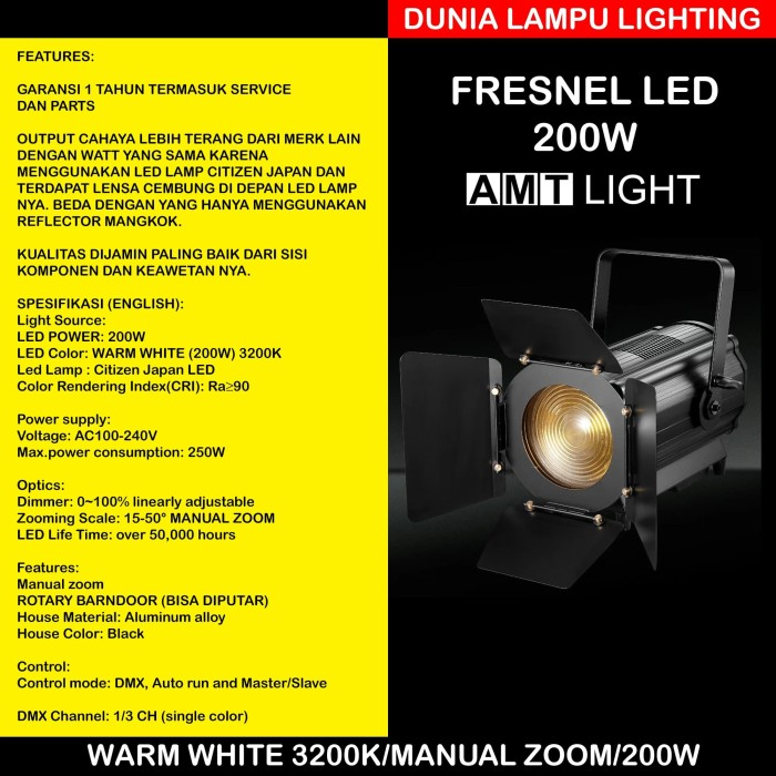 Foto Produk MURAH Lampu Fresnel led 200W Manual Zoom AMT LIGHT. Warm White 3200K dari DUNIA LAMPU LIGHTING