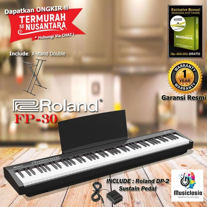 Jual Roland Fp 30 Fp30 Digital Piano With Xstand Double Hitam Putih Hitam Kota Bekasi Musiclasia Tokopedia