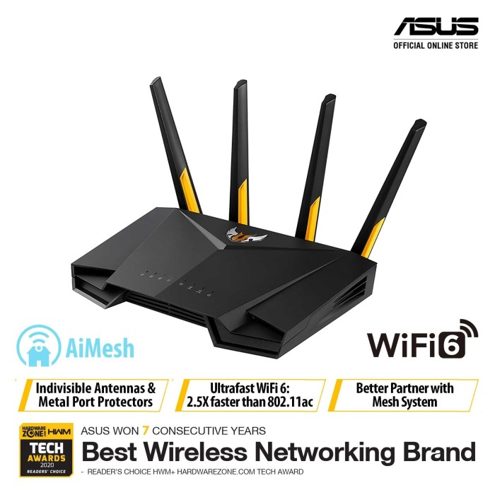 Foto Produk ASUS TUF AX3000 Dual Band WiFi 6 Gaming Router with AiMesh dari dunia storage