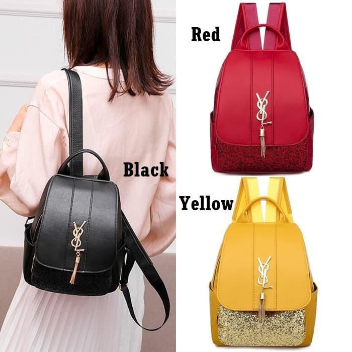 Foto Produk Tas Ransel Glitter E6016 Backpack Wanita Korea Style Kulit Branded dari Gudang Distributor Murah