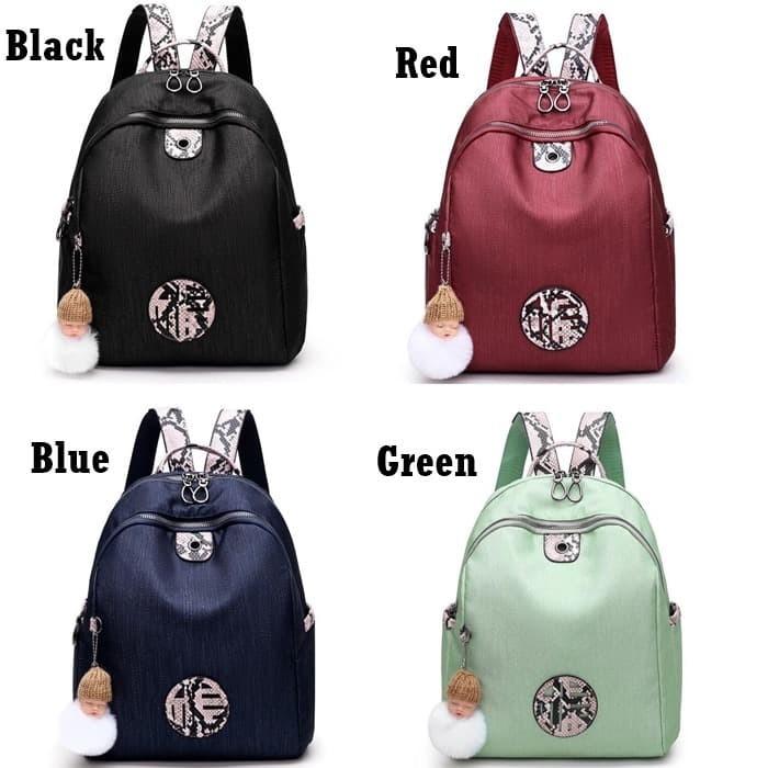 Foto Produk Backpack Canvas Stylish E6015 Tas Ransel Kanvas Kekinian Import Pompom dari Gudang Distributor Murah