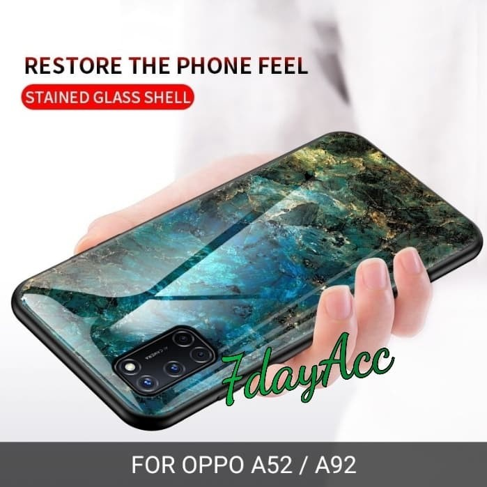Foto Produk CASE OPPO A52 / OPPO A92 LUXURY MARMER GRAIND HARD BACK COVER GLASS - Hitam dari 7dayAcc