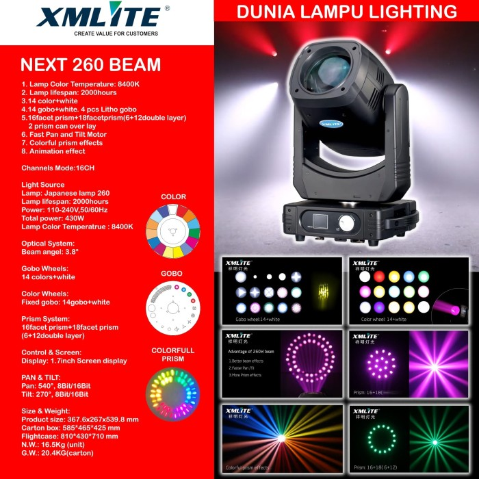Foto Produk Moving head beam 260 lampu sorot panggung studio lighting MURAH dari DUNIA LAMPU LIGHTING