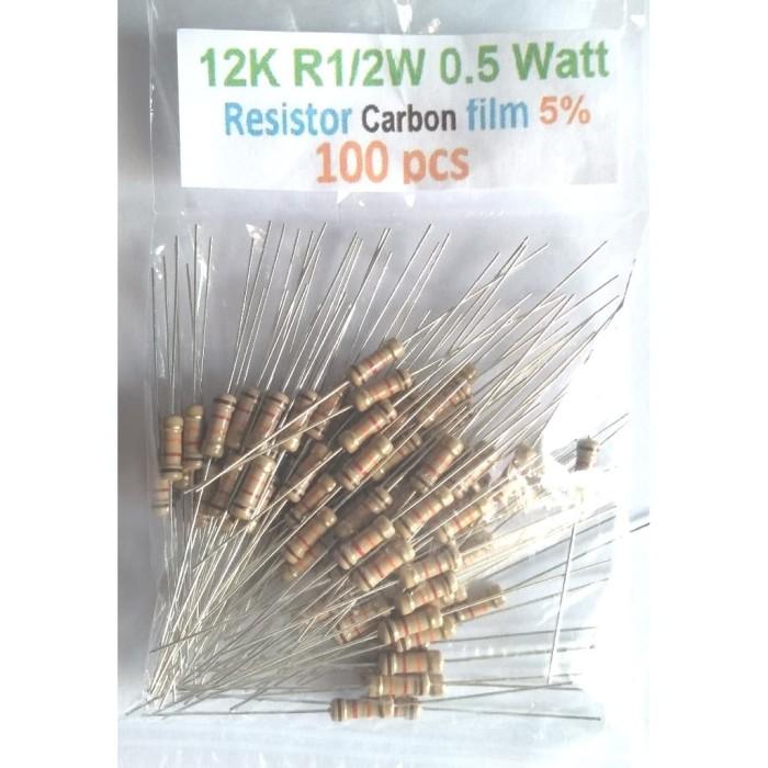 Foto Produk QTY 100Pcs 12K R0.5W Resistor CF 5% Original dari mbish elektronik