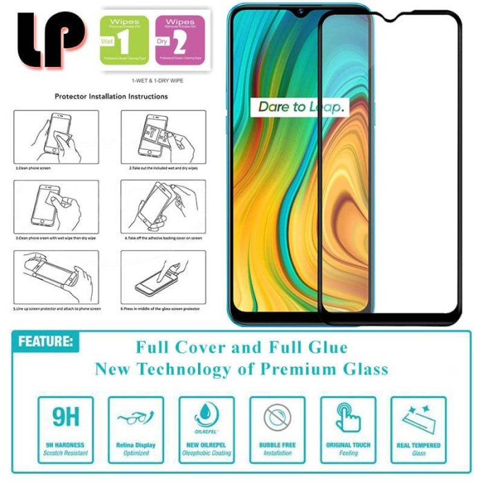 Foto Produk LP Full Glue Tempered Glass Realme C3 - Cover Kaca Original Black dari Logay Accessories