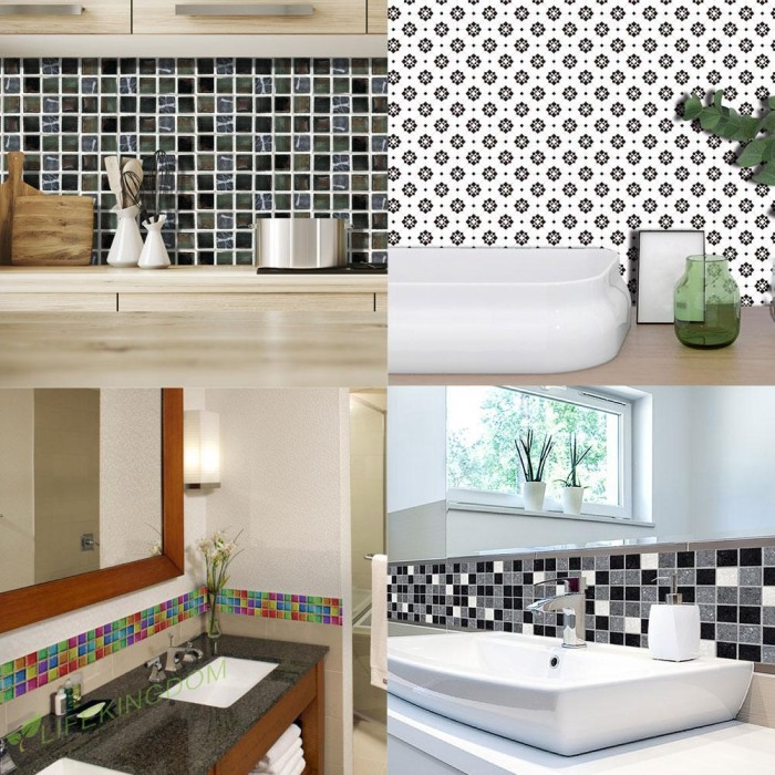 Jual 19pcs Pvc Waterproof Mosaic Tile Wall Sticker Kitchen Tiles Decals Tg Jakarta Barat Tokoe Sebelah Tokopedia