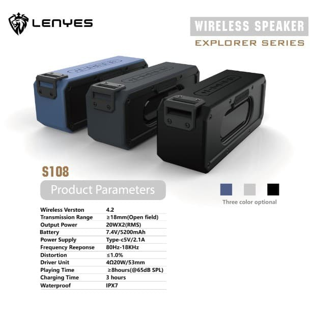 Foto Produk SpeakerBluetooth LENYES S108 ORIGINAL 100% WATERPROOF Wireless Speaker dari HJ collectionn