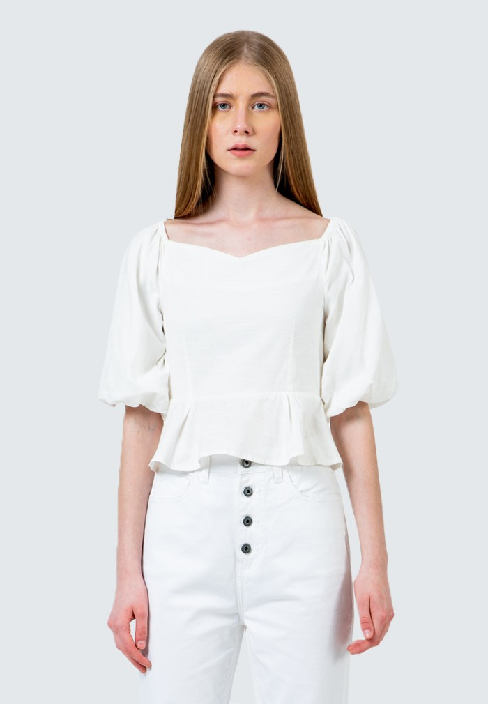Foto Produk Colorbox Baloon cropped blouse I:Blwfcr120D016 White - Putih, S dari Colorbox Indonesia