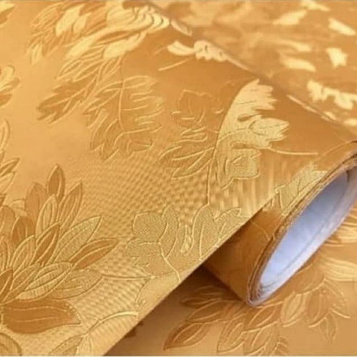 Foto Produk Polos gold tekstur bunga 45 cm x 10 mtr || Wallpaper dinding dari dedengkot wallpaper