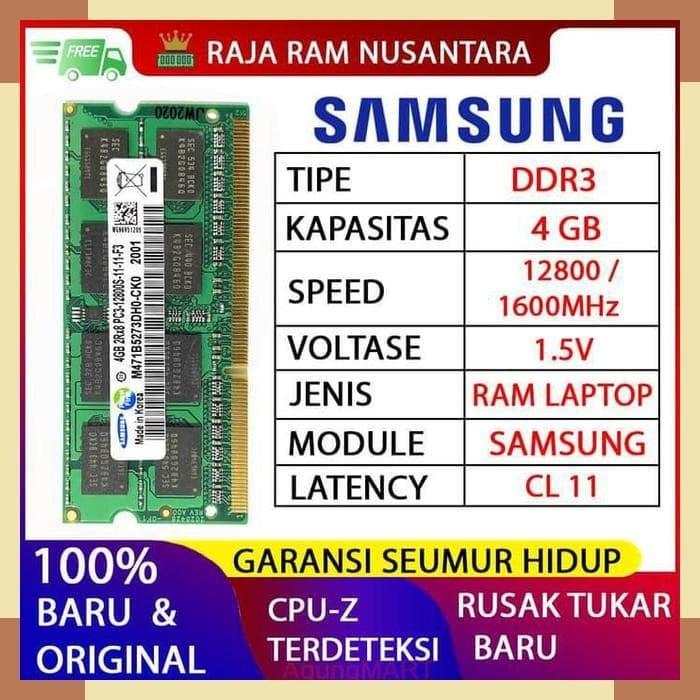 Foto Produk RAM LAPTOP SAMSUNG DDR3 4GB 12800 1600MHz ORI RAM SODIMM 1.5v 4GB dari Agung-Mart