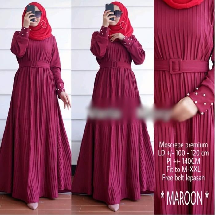 Foto Produk Dress Maxi Baju Muslim Model Plisket Gamis Bonus Belt VM dari Nice Pomade