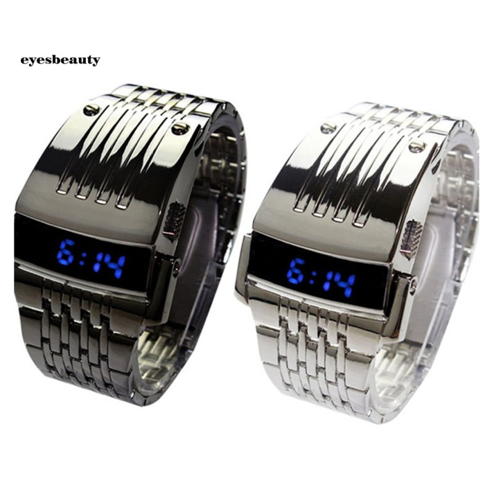 Foto Produk Fashion Blue Led Display Wide Stainless Steel Band Men Digital Wr dari Dick3yShop