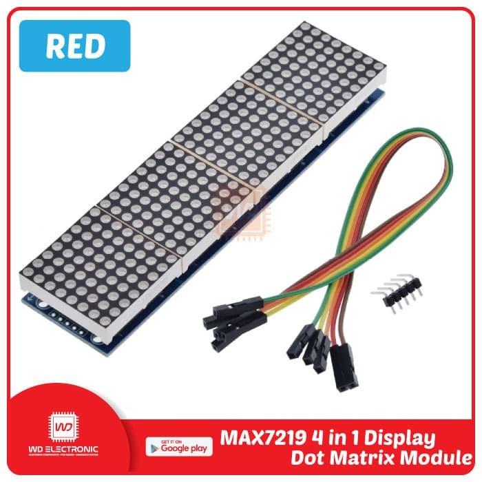 Foto Produk MAX7219 4 IN 1 DISPLAY LED DOT MATRIX MODULE - Merah dari WD Electronic