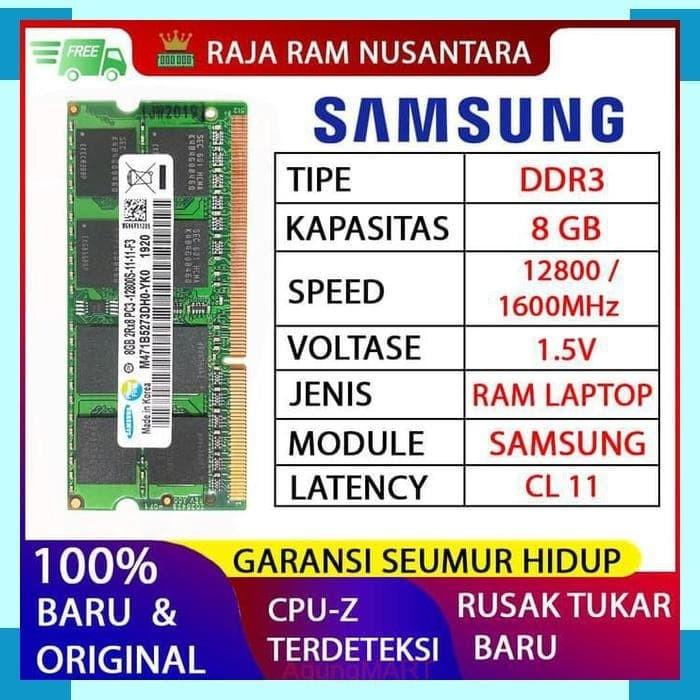 Foto Produk RAM LAPTOP SAMSUNG DDR3 8GB 128001600MHz ORIGINAL RAM SODIMM 1.5v 8GB dari Agung-Mart